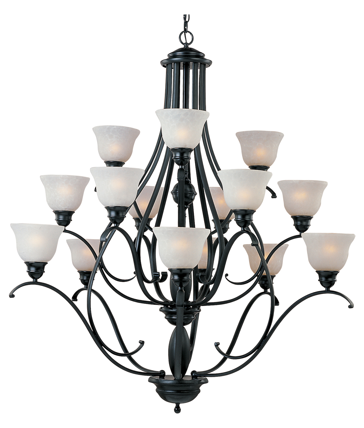 Maxim Fifteen Light Black Ice Glass Up Chandelier