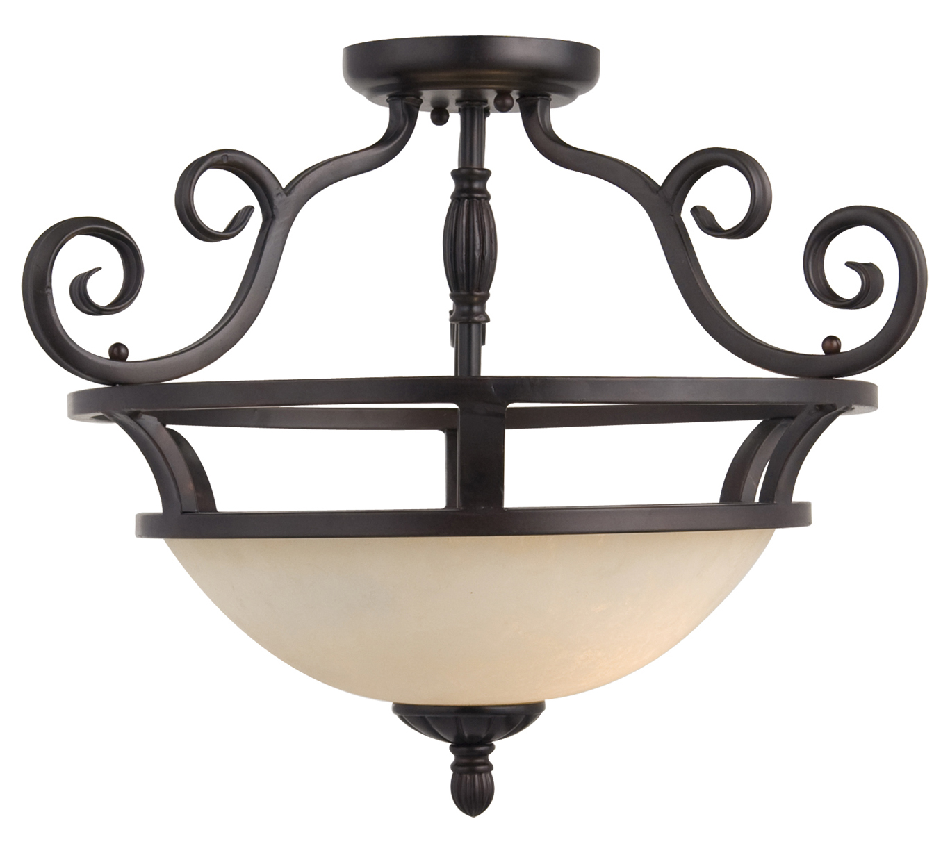Maxim Two Light Oil Rubbed Bronze Frosted Ivory Glass Bowl Semi-Flush Mount