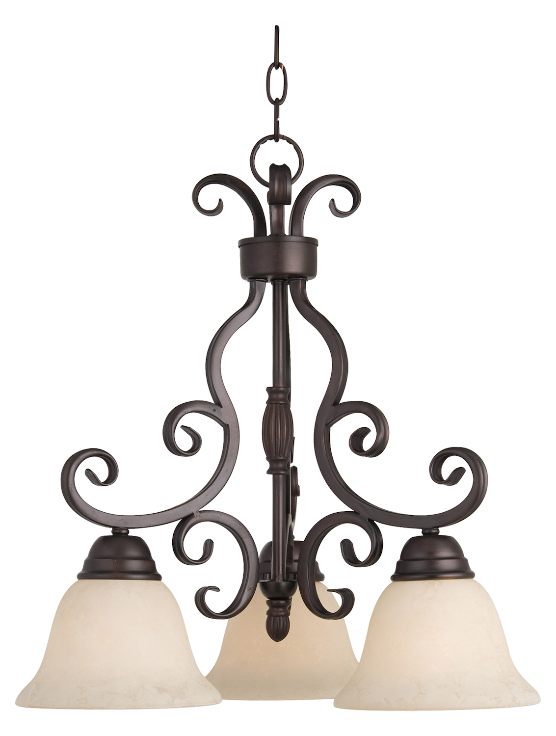 Maxim Three Light Oil Rubbed Bronze Frosted Ivory Glass
