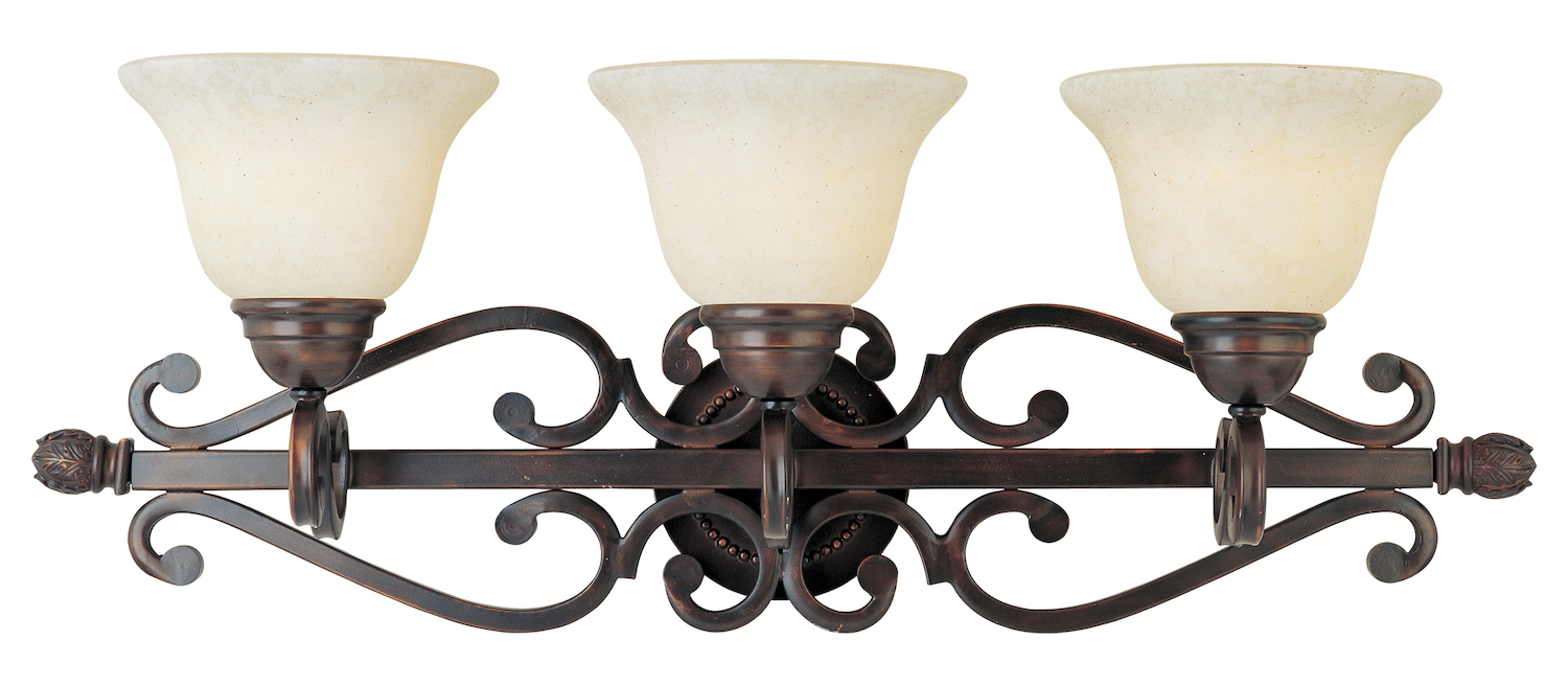 Maxim Three Light Oil Rubbed Bronze Frosted Ivory Glass Vanity