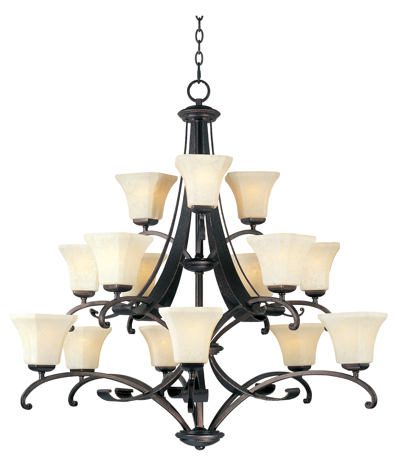 Maxim Fifteen Light Frost Lichen Glass Rustic Burnished Up Chandelier