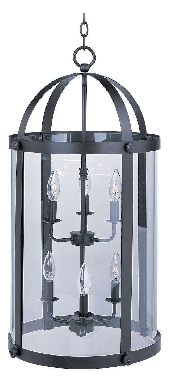 Foyer Pendant Lighting Bronze : Maxim six light bronze clear glass foyer hall pendant
