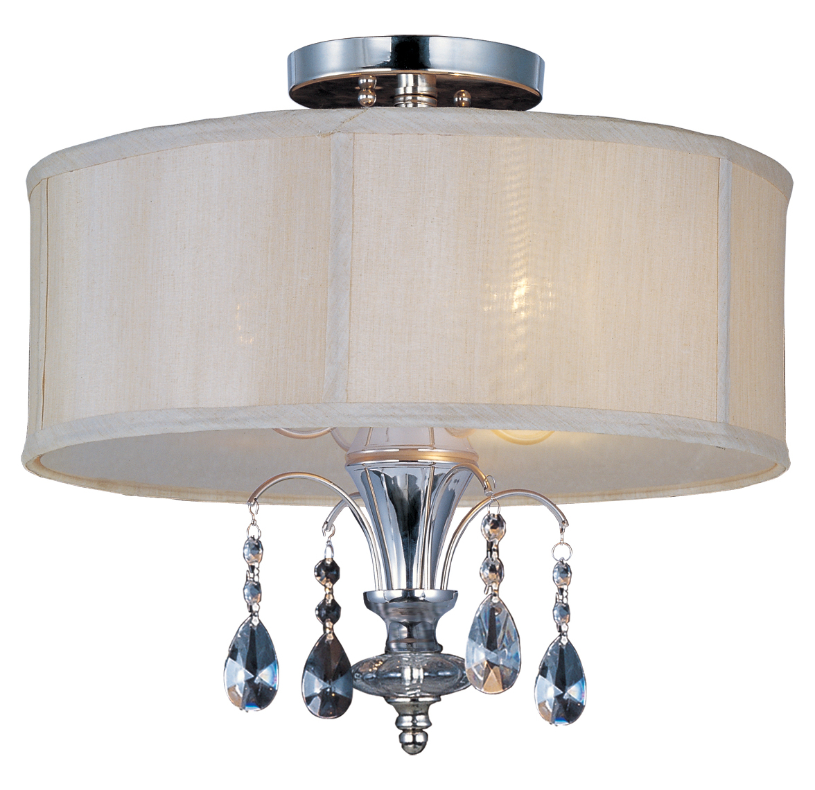 Maxim Three Light Clear Glass Polished Nickel Drum Shade