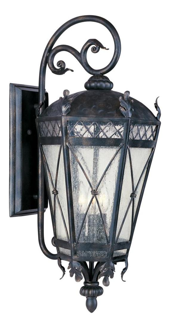Maxim Five Light Artesian Bronze Seedy Glass Wall Lantern