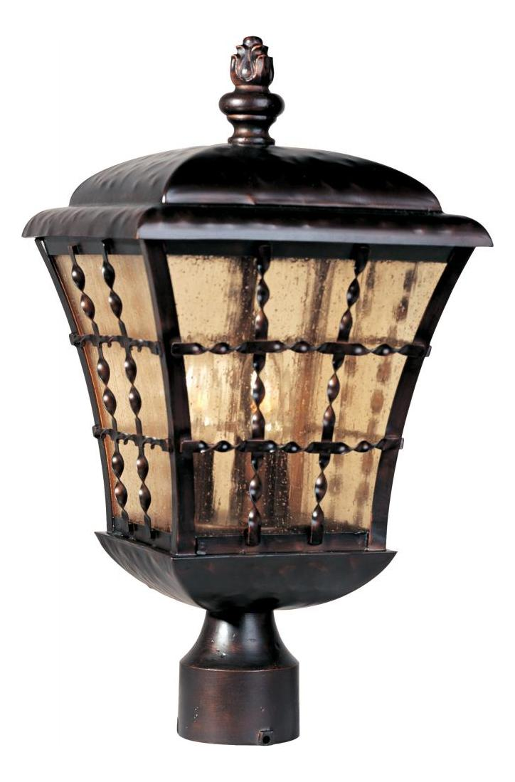 Maxim Three Light Oil Rubbed Bronze Amber Seedy Glass Post Light