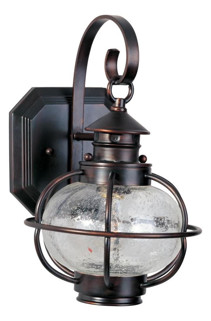 Maxim One Light Oil Rubbed Bronze Seedy Glass Wall Lantern