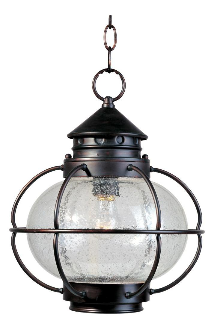 Maxim One Light Oil Rubbed Bronze Seedy Glass Hanging Lantern
