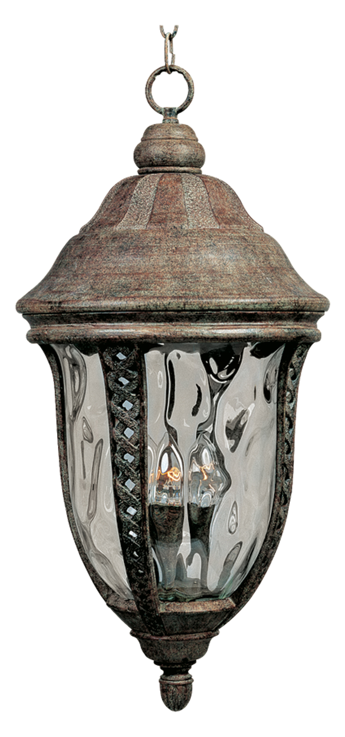 Maxim Three Light Earth Tone Water Glass Glass Hanging Lantern