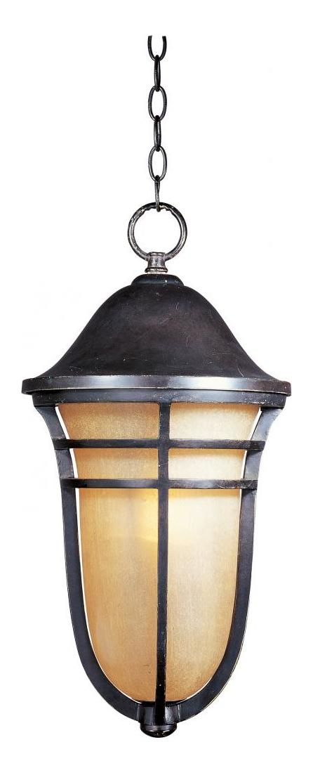 Maxim One Light Artesian Bronze Mocha Cloud Glass Hanging Lantern
