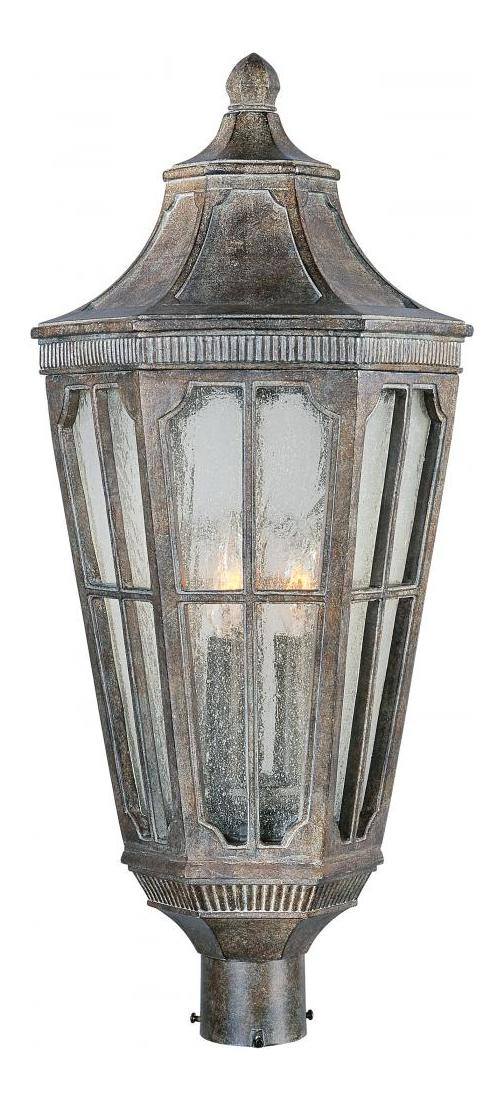 Maxim Three Light Sienna Seedy Glass Post Light