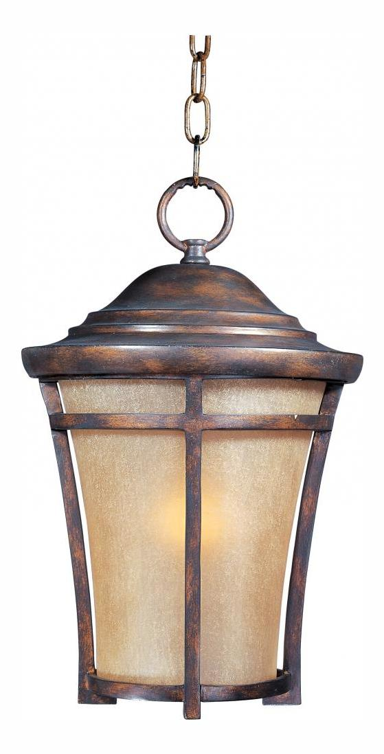 Maxim One Light Copper Oxide Golden Frost Glass Hanging Lantern