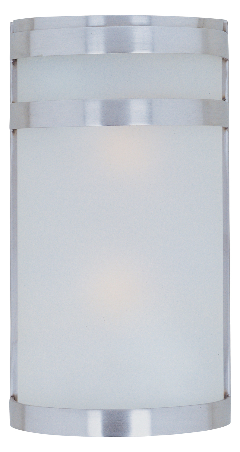 Maxim Two Light Frosted Glass Stainless Steel Outdoor Wall Light