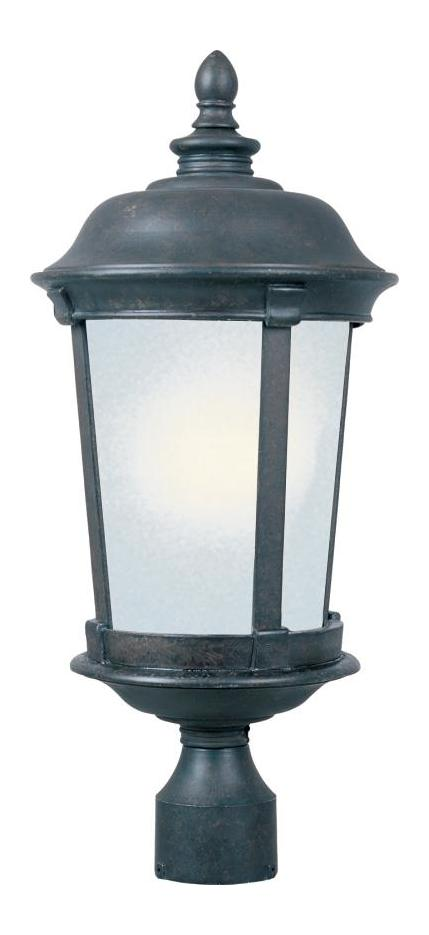 Maxim One Light Bronze Frosted Seedy Glass Post Light