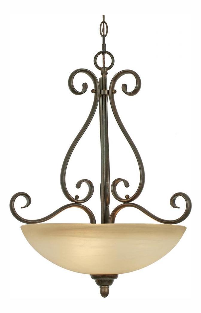 Golden Peppercorn Three Light Bowl Pendant From The
