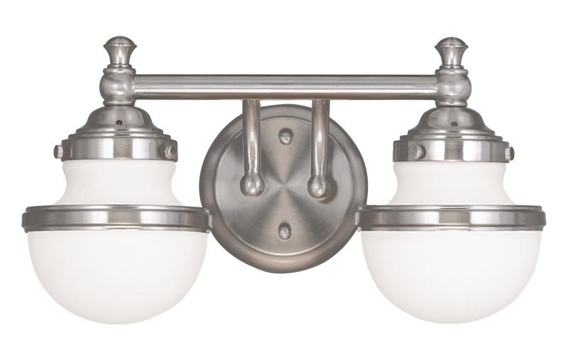 Livex 2 Light Bathroom Vanity Lighting Fixture Brushed: Livex Lighting Brushed Nickel Oldwick 2 Light Bathroom
