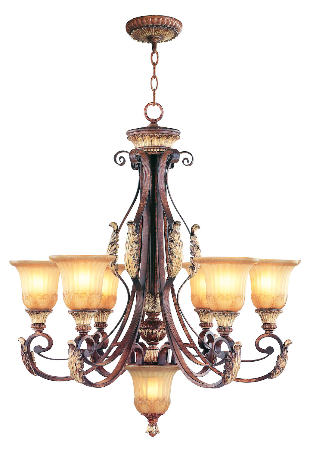 Livex Lighting Verona Bronze 6 Light 600w Chandelier With Medium Bulb Base And Rustic Art Glass