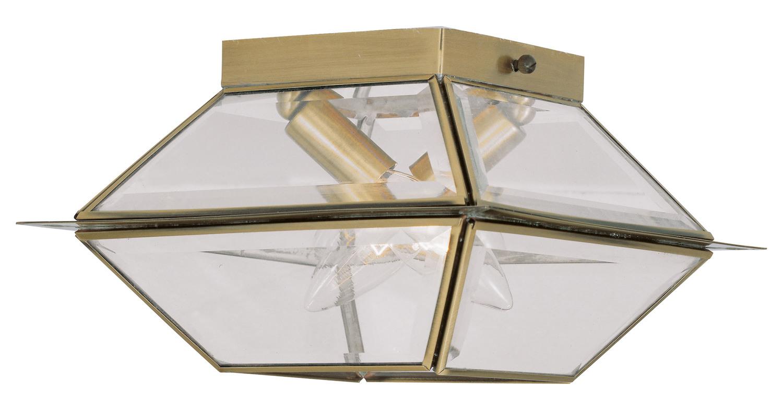 Semi Flush Ceiling Lights Glass Brass Fixture Bathroom: Livex Lighting Antique Brass Westover 2 Light Outdoor Semi