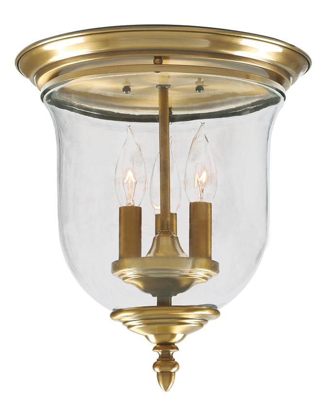 Livex Lighting Antique Brass Legacy 3 Light Flush Mount