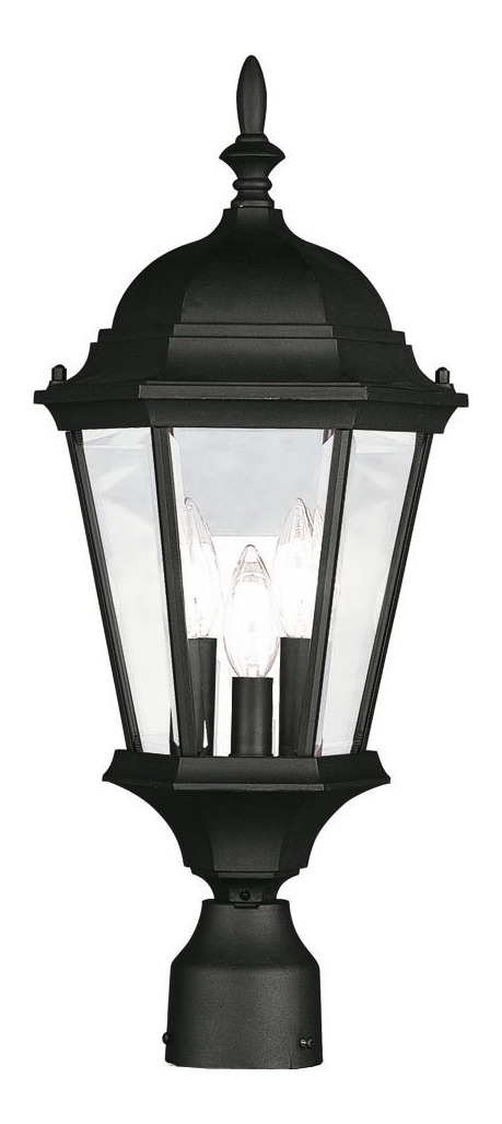 Livex Lighting Black 3 Light 180w Post Light With