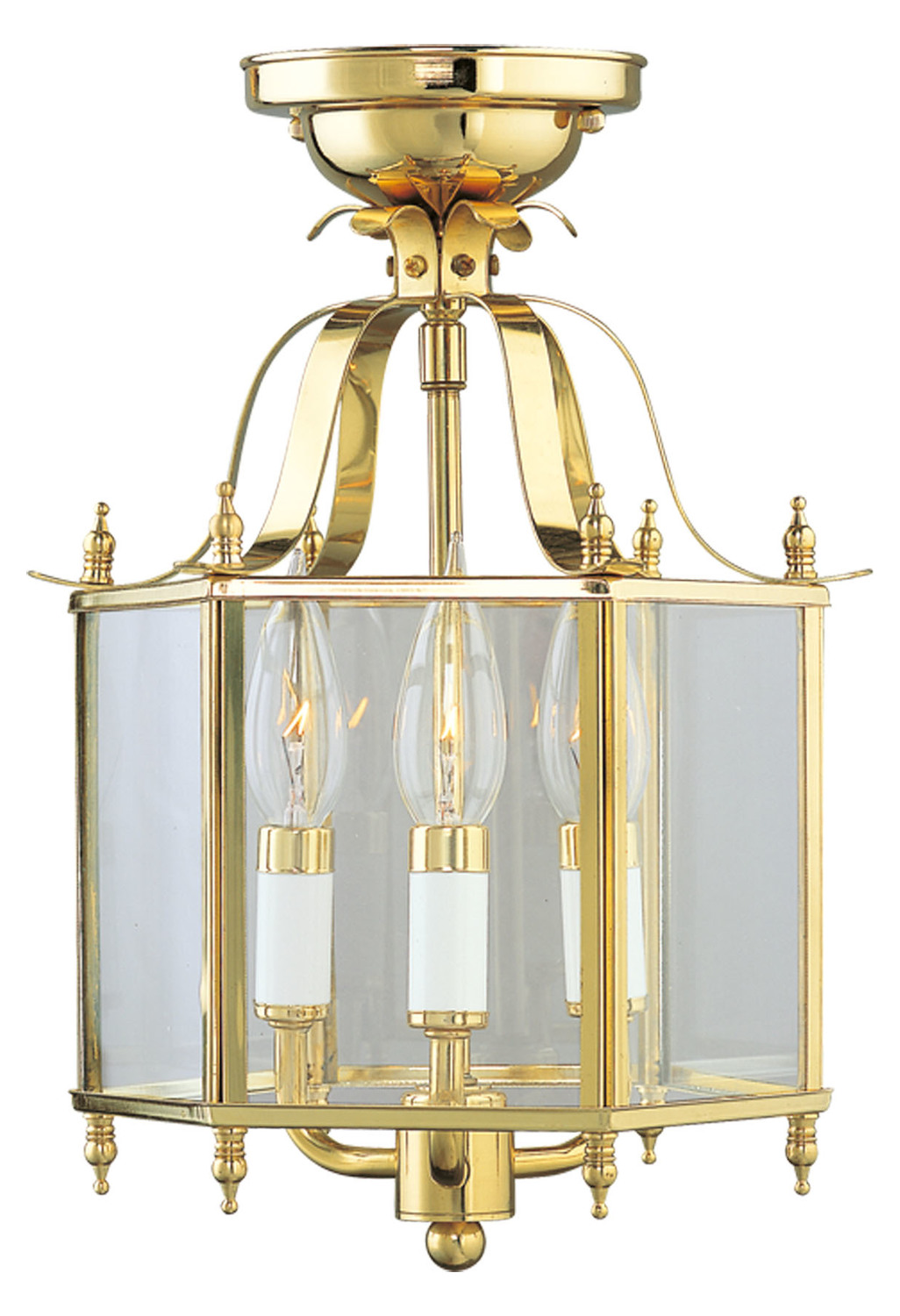 Foyer Lighting Fixtures Flush Mount : Livex lighting polished brass foyer hall semi flush mount