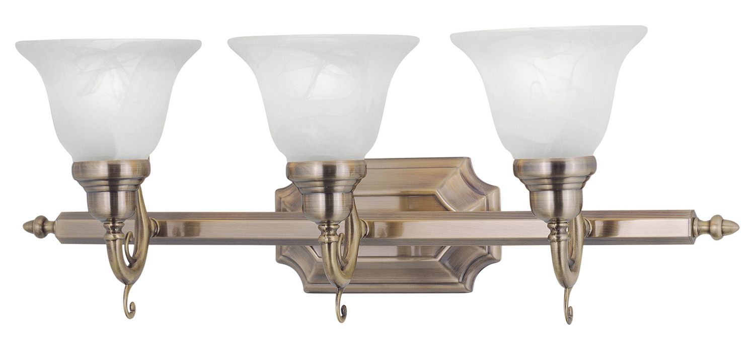 Livex Lighting Antique Brass French Regency 3 Light Bathroom Vanity Light Antique Brass 1283 01