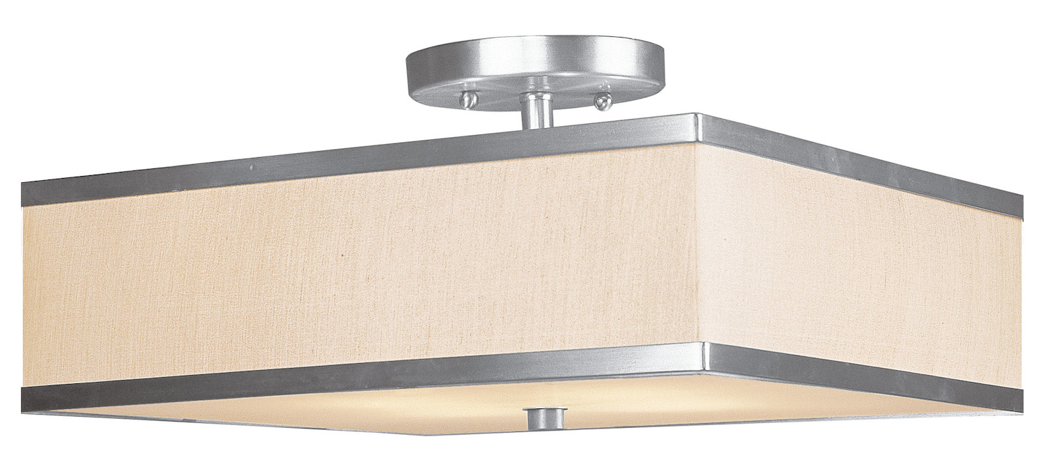 Progress Lighting Rizu Collection 3 Light Brushed Nickel: Livex Lighting Brushed Nickel Park Ridge 3 Light Semi