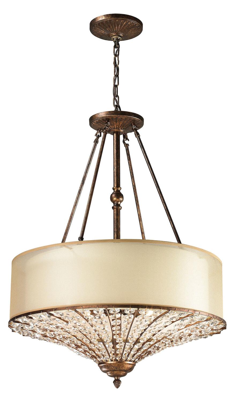 elk lighting 4 light drum pendant bronze