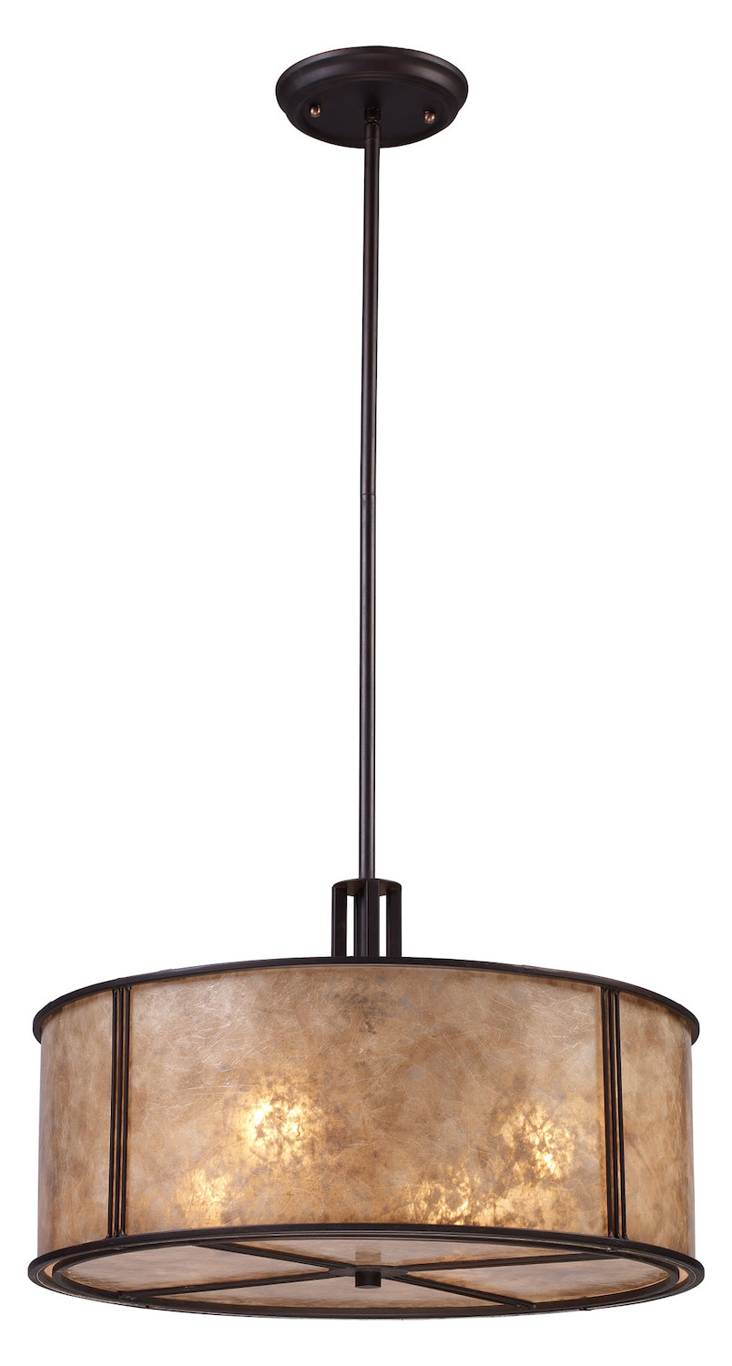 ELK Lighting Four Light Aged Bronze Tan Mica Shade Drum Shade Pendant