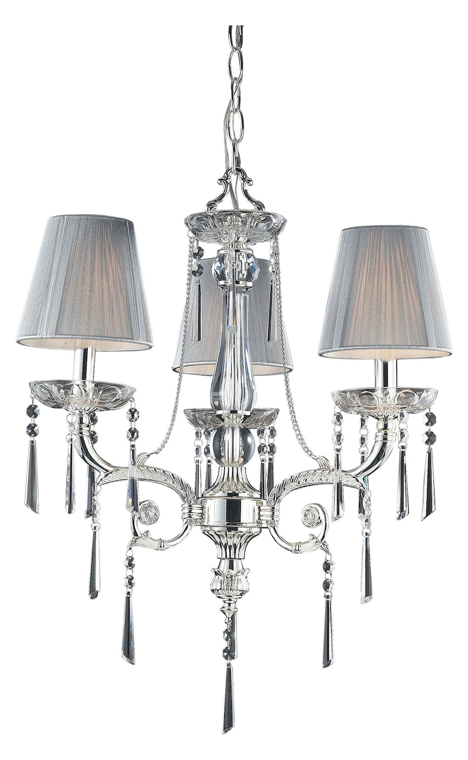 ELK Lighting Three Light Polished Silver Iced Glass Up Chandelier