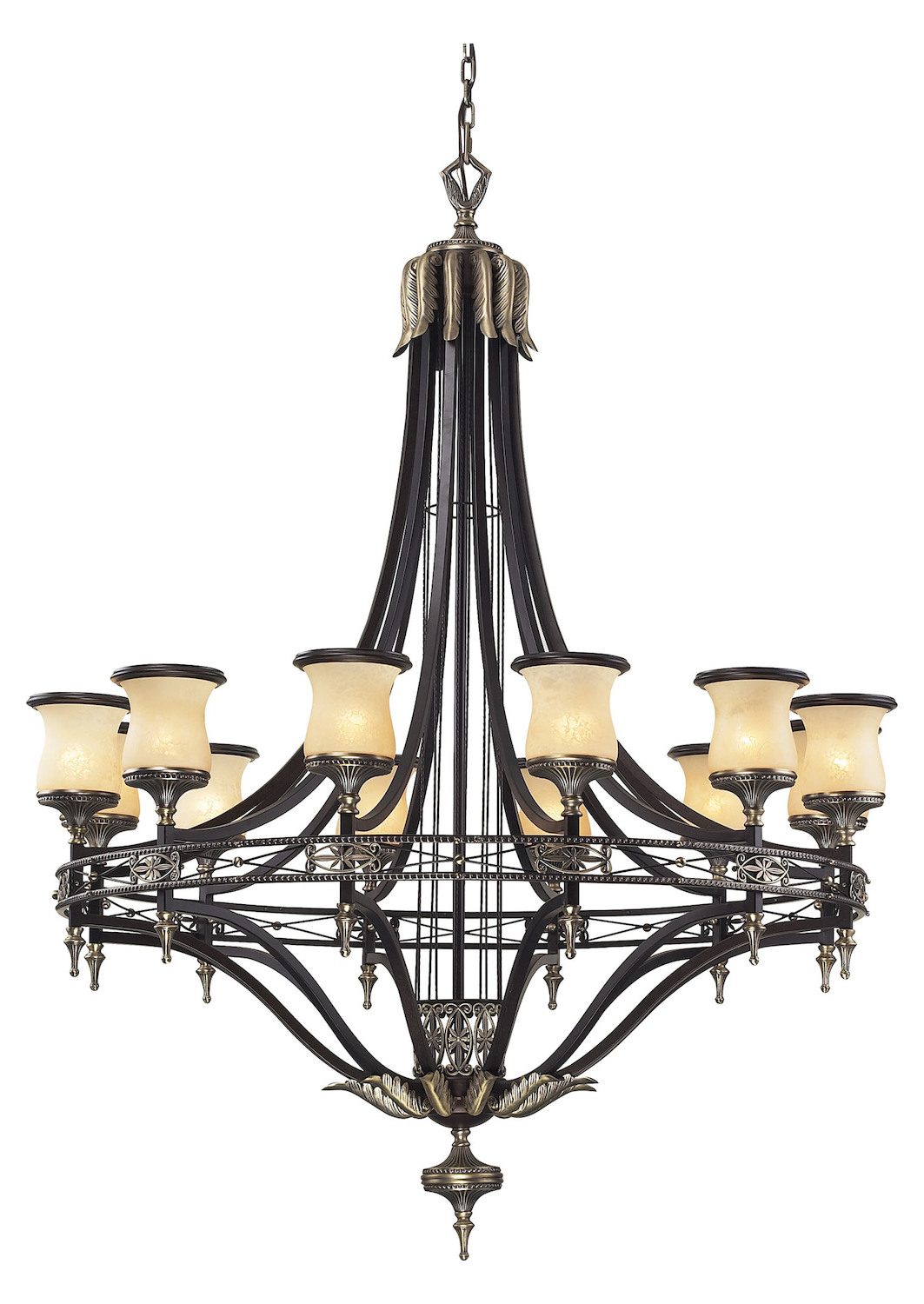ELK Lighting Twelve Light Antique Bronze & Dark Umber Dark Umber And Marblized Ambe