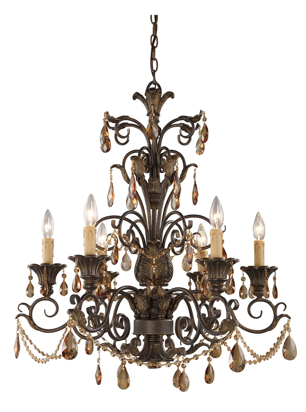 ELK Lighting Six Light Weathered Mahogany Ironwork Up Chandelier