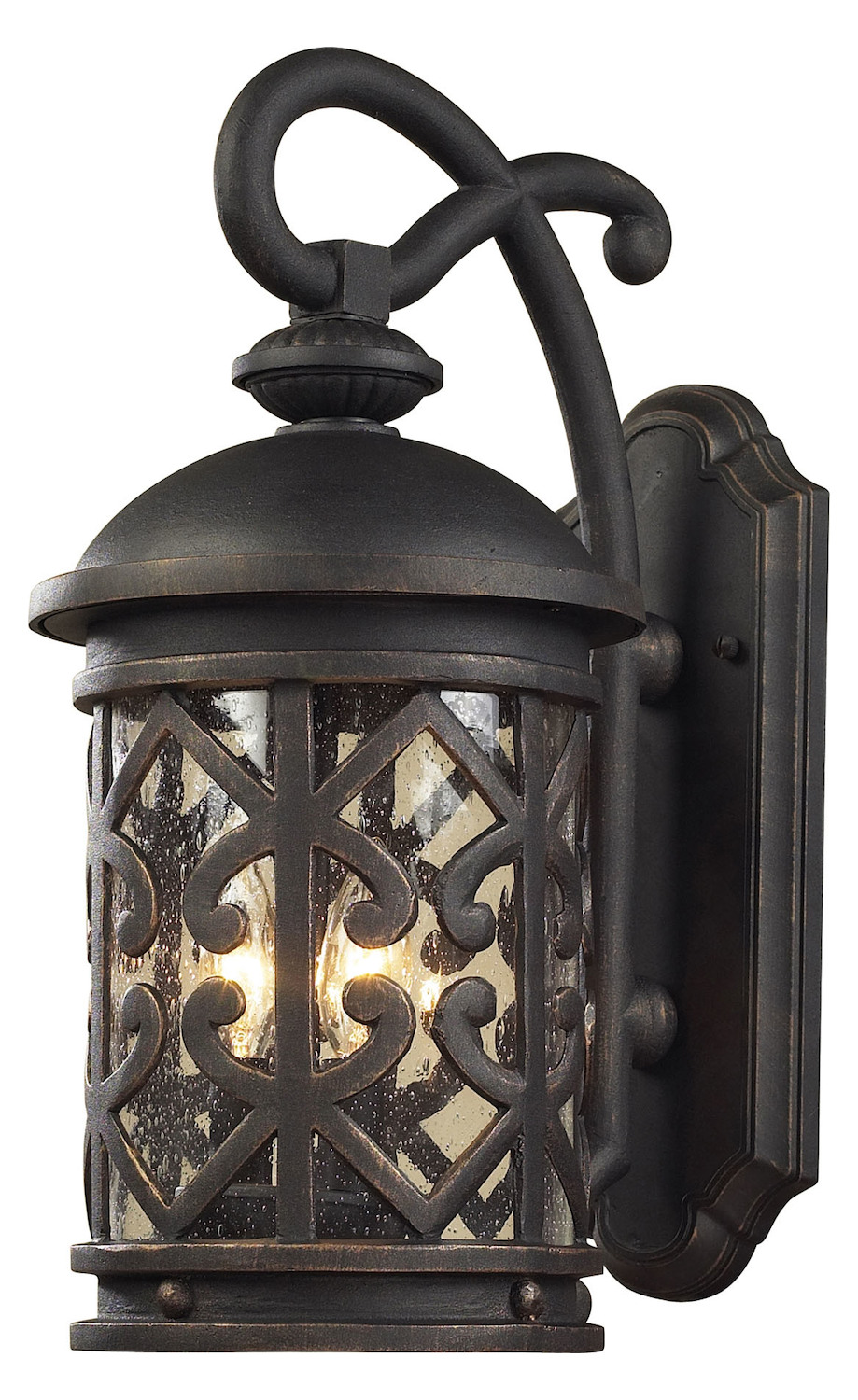 ELK Lighting Three Light Weathered Charcoal Clear Seeded Glass Wall Lantern
