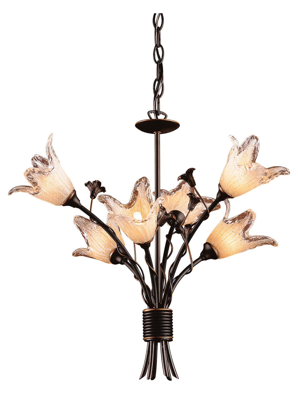 ELK Lighting Twelve Light Aged Bronze Hand Blow Tulip Glass Up Chandelier
