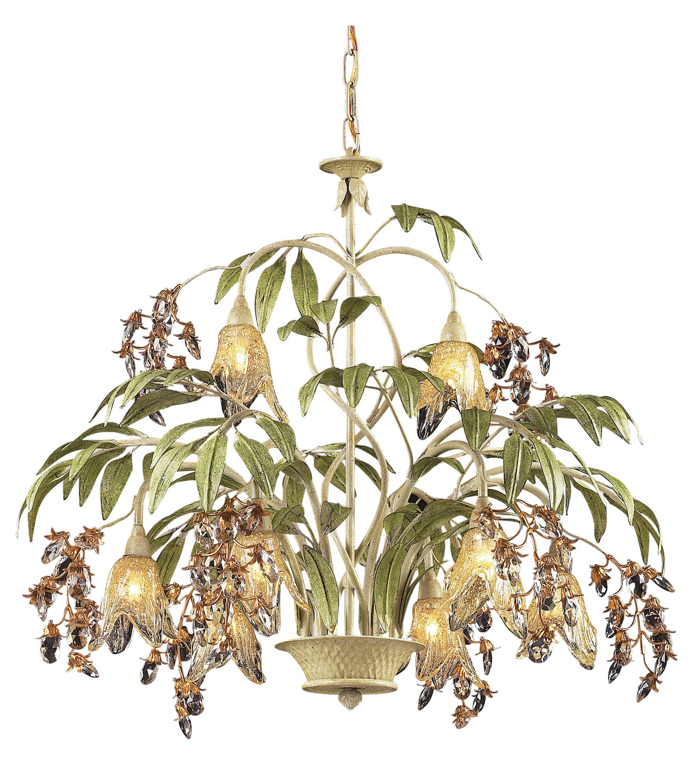 ELK Lighting Eight Light Seashell Amber Glass Down Chandelier