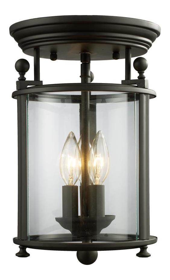 Z Lite Three Light Bronze Clear Glass Foyer Hall Semi