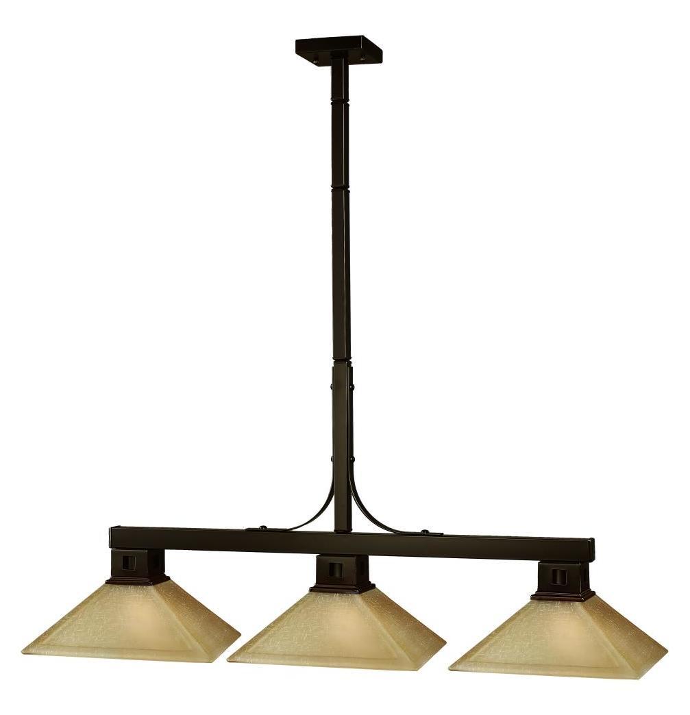 Z-Lite Three Light Bronze Golden Linen Glass Pool Table
