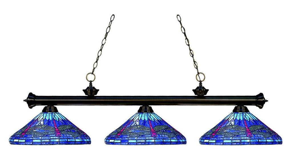Z Lite Three Light Bronze Multi Color Tiffany Glass Pool Table Light