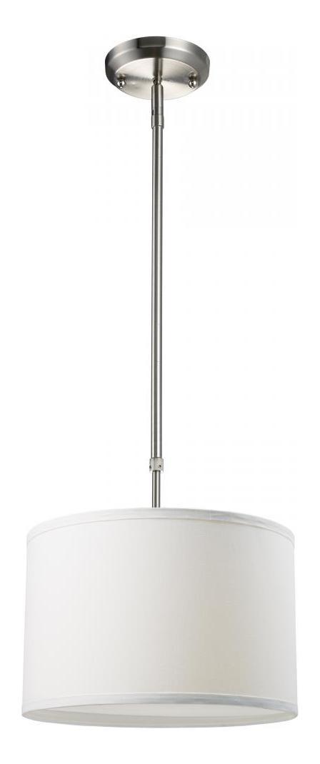 Z Lite One Light Brushed Nickel White Linen Shade Drum Shade Pendant Brushed Nickel 171 12w From