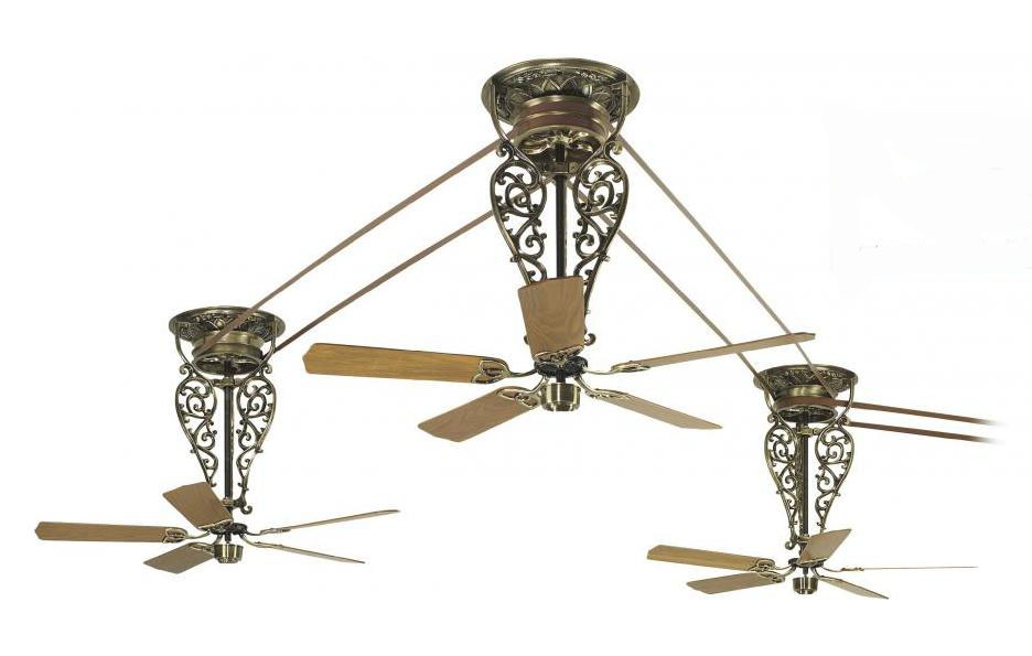 Fanimation Antique Brass 52in 15 Blade 220v Belt Driven Ceiling Fan Blades Included Antique Brass Fp580ab 18 L3 From Bourbon Collection