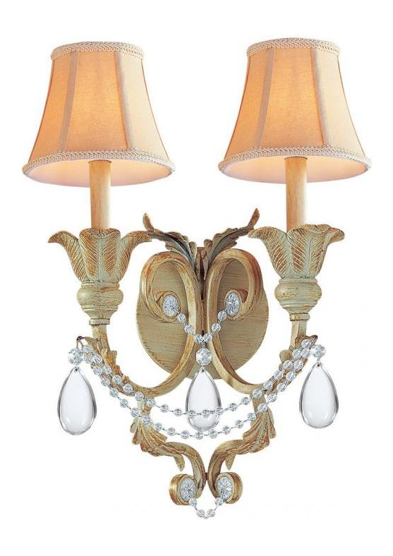 Crystorama Champagne Voltaire 2 Light Double Wall Sconce