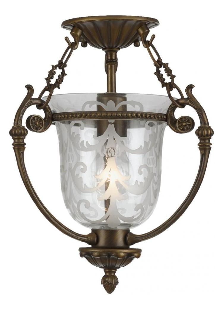 Crystorama One Light Antique Brass Clear Glass Bowl Semi-Flush Mount