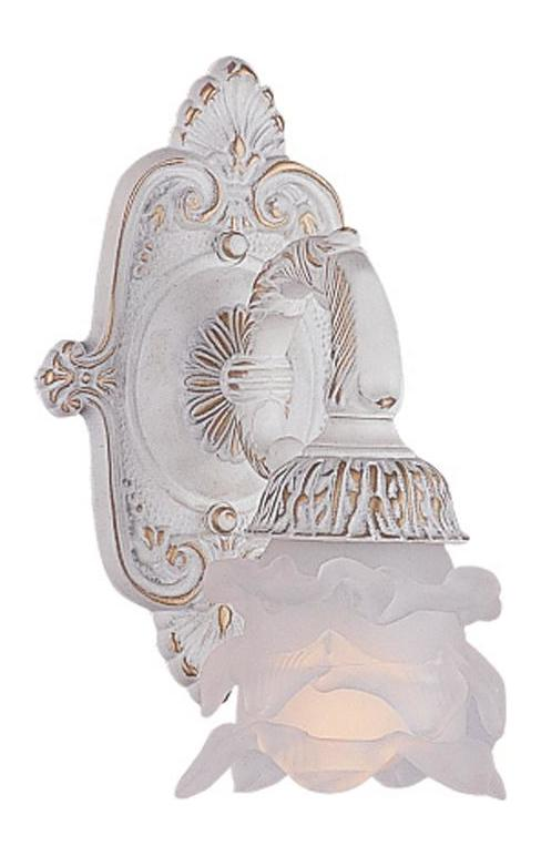 Crystorama Antique White Paris Flea Market 1 Light Floral Wall Sconce