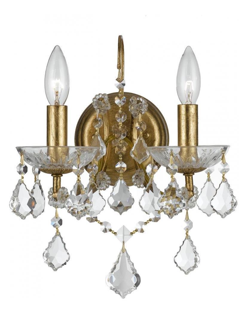 Vintage Gold Wall Lights : Crystorama Two Light Antique Gold Wall Light Antique Gold 4452-GA-CL-MWP From Filmore Collection