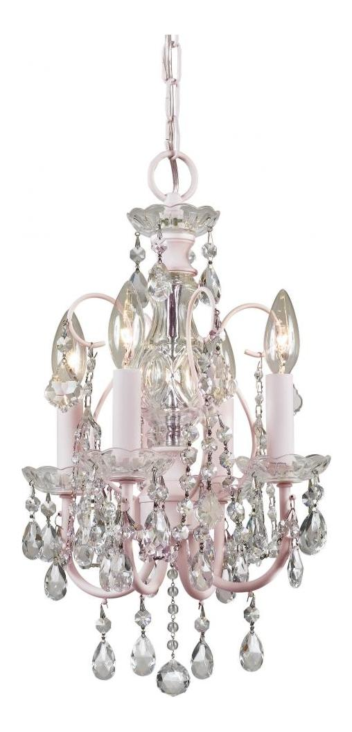 Crystorama Imperial Pink Blush Clear Crystal 4 Light Candelabra Chandelier