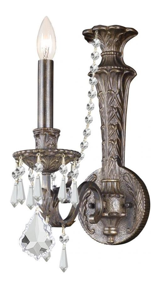 Crystorama English Bronze Vanderbilt 1 Light Wall Sconce with Hand-Polished Crystals