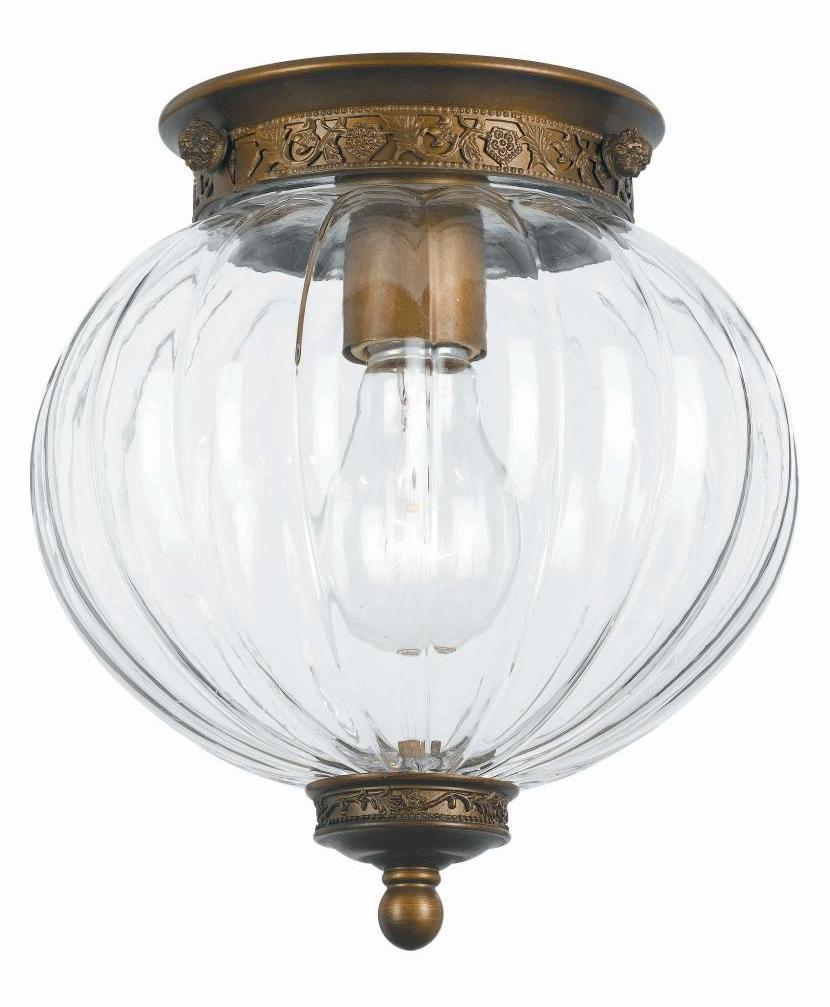 Crystorama Antique Brass Camden 1 Light Flush Mount