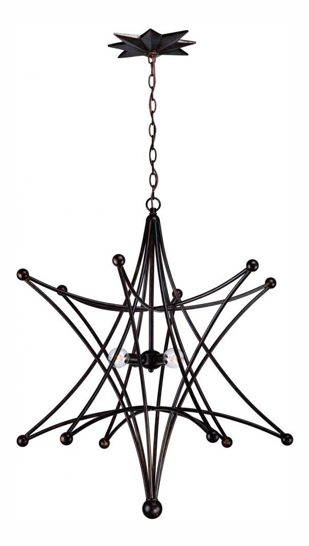 Crystorama English Bronze Astro 4 Light Pendant