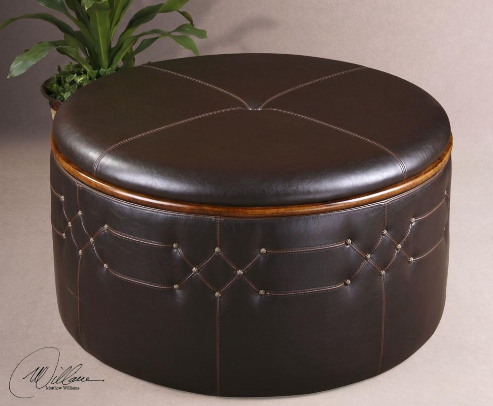 Uttermost Faux Leather Storage Ottoman With Stitching And Nail Head Details