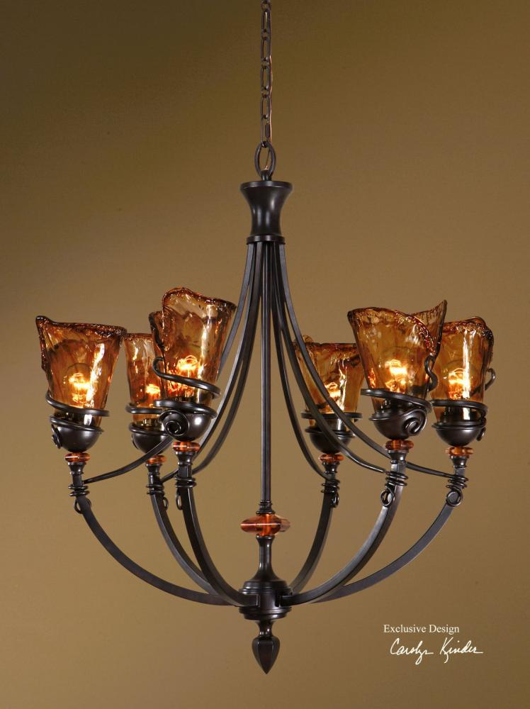 Uttermost Vitalia Six Light Up Lighting Chandelier Designed By Carolyn Kinder