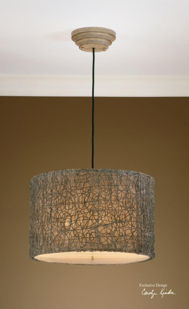 Uttermost Ivory Brown Knotted Rattan 3 Light Hanging Shade Pendant